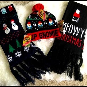 NWT Forever 21 Christmas hat/scarf bundle